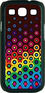 Colorful Retro Polka Dots- Case for the Samsung Galaxy S3 i9300 -Soft Black Rubber Case with a Swinging Open-Close Flap that Covers the screen