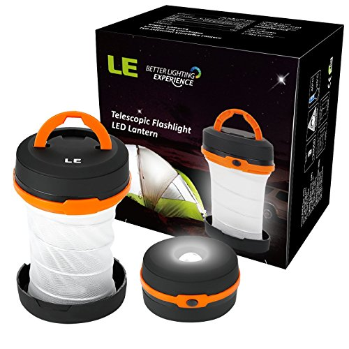 LE Outdoor LED Camping Lantern, Flashlight, Collapsible, Dual Purpose, 3 Modes, Battery Powered, Water Resistant, Home, Garden Lanterns for Hiking, Emergencies, Outages