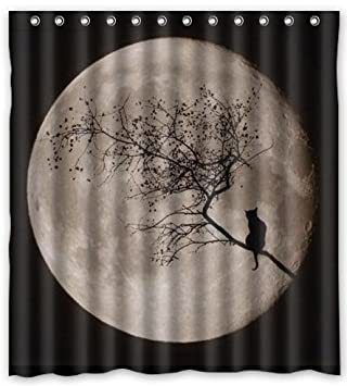 FMSHPON Fashion Fullmoon and Black Cat Waterproof Fabric Bath Shower Curtain 66 x 72 Inches