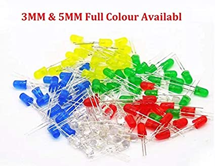 Active Components Diodes 100pcs Transparent Cover Led 5mm 3mm Red Yellow Green Blue Warm White Purple Light Emitting Diode High Bright F3 F5 Quality Bead
