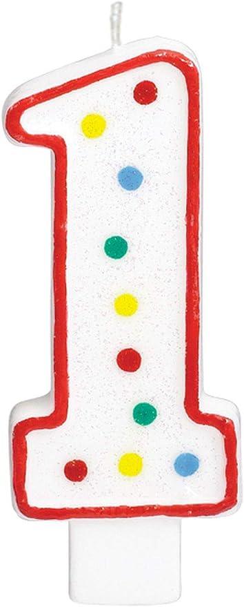 Amazon.com: Nº 1 Colorful Dots Numeral Vela de cumpleaños ...