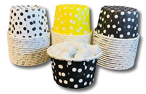 Bee Themed Candy Nut Mini Baking Paper Treat Cups - Black Yellow White - 48 Pack -