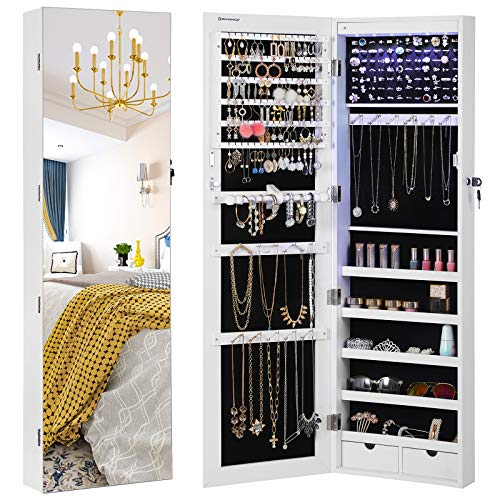 "SONGMICS 47.2"" H Full Screen Mirrored Jewelry Cabinet Armoire, 6 LEDs Jewelry Organizer Wall Hanging/Door Mounted, Larger Capacity, Valentine Gifts, Pure White UJJC99WT"