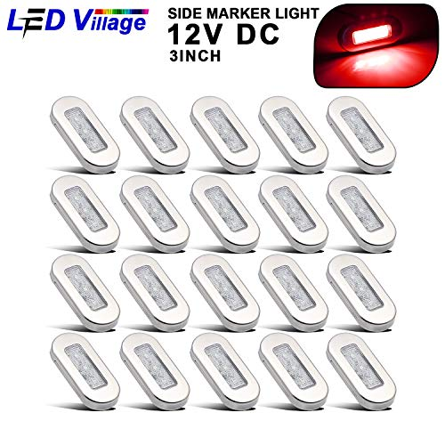 Chrome Yacht Lamp - [Pack of 20] Ledvillage 3 Inch Clear Lens Red Oval Courtesy Marine Light Sealed Surface Mount Utility Lamp for Yacht Boat Caravan RV Trailer Cab Pickup Lorr12V DC Waterproof with Chrome Stainless UV12