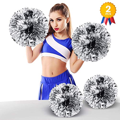 ANALAN 21 Colors Pack of 2 Foil Plastic Metallic Cheerleading Pom Poms for Cheer Sport Kids Adults(Silver)