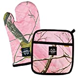 DII 100% Cotton, Machine Washable, Everyday Kitchen Basic, Realtree Printed Oven Mitt and Potholder Gift Set, Pink