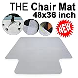 Super Deal Free PVC Multitask Series Chair Mat with Lip for Hard Floors, 36''x 48'' , Carpet Floor Protection Home Office Computer Work Chair Mat , Studded, Clear Vinyl, Rectangular (36'' x 48'')