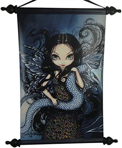 PTC 18 Inch Jeweled Fairy with Serpent Printed Hanging Art Wall Scroll