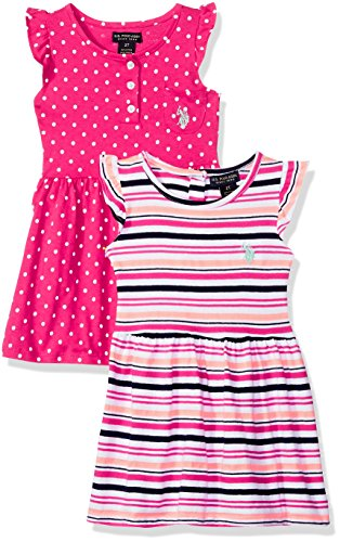 (U.S. Polo Assn. Girls' Toddler Multi, Dress Pack Stripes dots Ruffle Sleeves Fuchsia 2T)