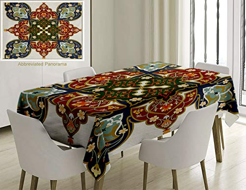 (Unique Custom Cotton And Linen Blend Tablecloth Oriental Turkish Ottoman Arabic Eastern Decor Flowers Moroccan Image White Ruby Turquoise Cadet BlueTablecovers For Rectangle Tables, 70 x 52 Inches)