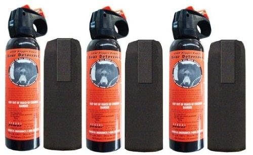 3 Personal Defense UDAP Bear Sprays w/ Holsters 12VHP