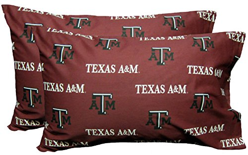 College Covers Texas A&M Aggies Pillowcase Pair - Solid (Includes 2 Standard Pillowcases)