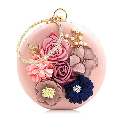 (Pink Floral Designer Evening Bag Best Metallic Evening Clutch Elegant Flower Dressy Purse for Party Wedding)