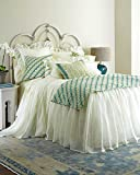 Ds Ivory Organic Linen Gauze or Sheer Lined Skirted Coverlet King & Queen Size 30'' Drop (Queen)