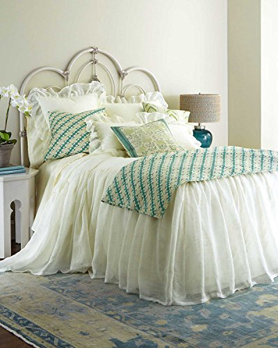 Ds Ivory Organic Linen Gauze or Sheer Lined Skirted Coverlet King & Queen Size 30'' Drop (Queen) by DS
