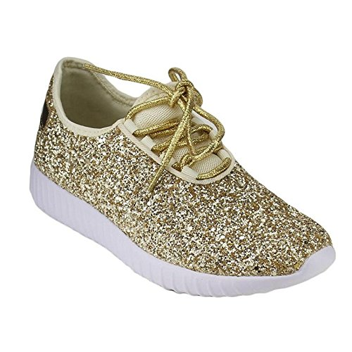 Forever Link Women's 18-Lace Up Glitter White Sole Street Sneakers,Gold,7.5