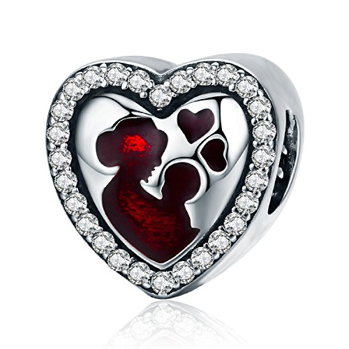 Love Heart Charm Red Enamel Mom Daughter Charms fit Pandora Bracelet Necklaces Jewelry Birthday Gifts