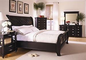 Amazon Com New Black Sleigh Bed Master Bedroom Furniture