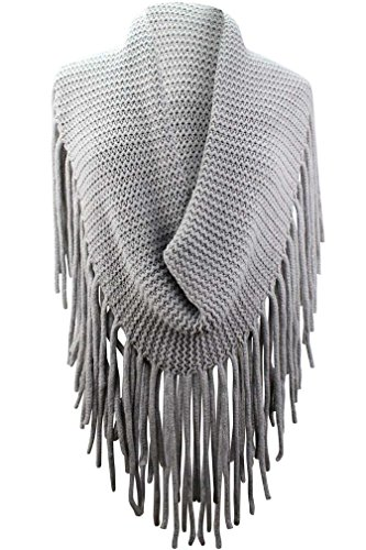 Extra Long Fringe (Gray Thick Knit Wide Infinity Scarf With Extra Long Fringe)