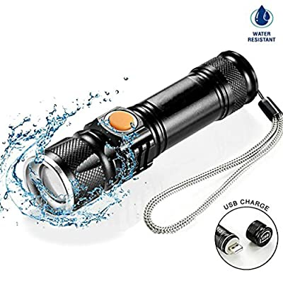 KCLDFJ Usb Inside Battery Xml-T6 Powerful 2000Lm Led Flashlight Portable Light Rechargeable Tactical Led Torches Flashlight