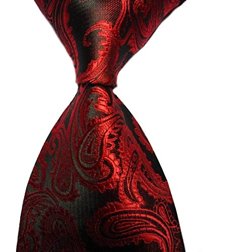 New Silk Mens Necktie Tie (New Green Paisley Jacquard Woven Men's Tie Necktie (Red Black))