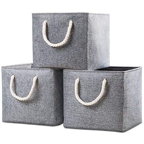 Prandom Large Foldable Cube Storage Baskets Bins 13x13 inch [3-Pack] Fabric Linen Collapsible Storage Bins Cubes Drawer with Cotton Handles Organizer for Shelf Toy Nursery Closet Bedroom(Gray)