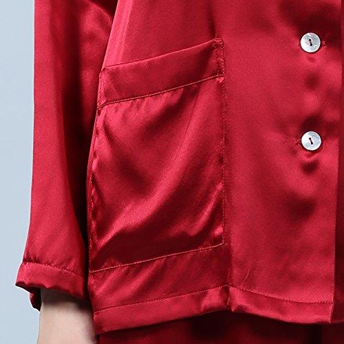 LULUSILK Conjunto de Pijama Largo de Seda 22 Momme con Dos Bolsillos Manga Larga con Pantalones Vino Tinto