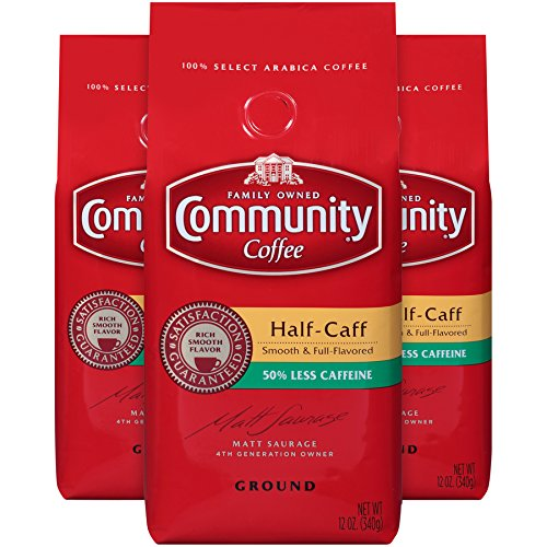 Community Coffee Half Caff Medium Dark Roast Premium Ground 12 Oz Bag (3 Pack), Full Body Smooth Full Flavored, 100% Select Arabica Coffee Beans
