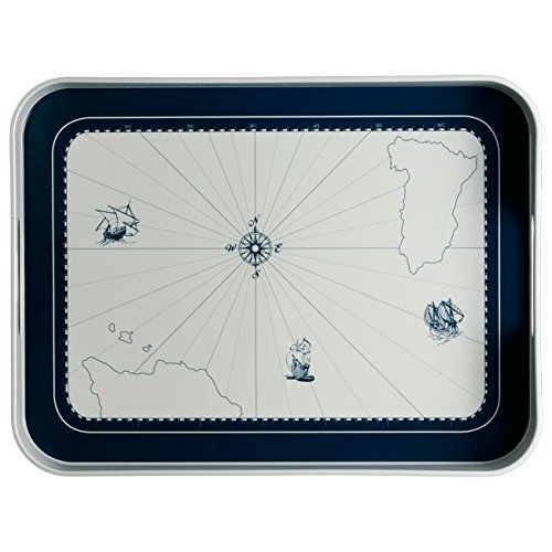 Columbus Proof - MB Coastal Designs Columbus Nautical Shatter Proof Serving Tray, Navy Blue/White