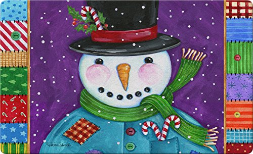 "Toland Home Garden 830104 Patchwork Snowman 18"" x 30""  Recycled Mat, USA Produced Recycled Patchwork"