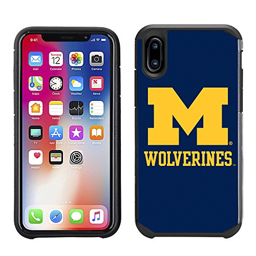 Prime Brands Group Textured Team Color Cell Phone Case for Apple iPhone X - NCAA Licensed University of Michigan Wolverines