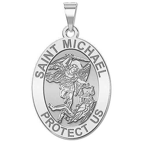 PicturesOnGold.com Saint Michael OVAL Religious Medal - 2/3 X 3/4 Inch Size of Nickel, Sterling Silver WITH ENGRAVING