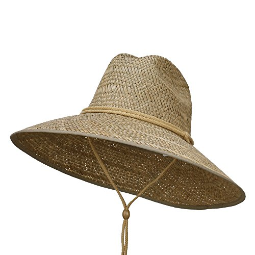[Man's Lifeguard Safari Straw Hat - Natural OSFM] (Straw Safari Hat)