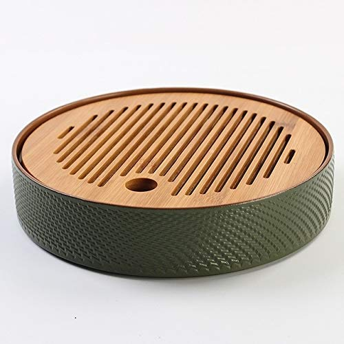 Household Simple Round Bamboo Tea Tray Mini Tea Table, Diameter: 21.5cm (CP27-1) by Zhiyuan
