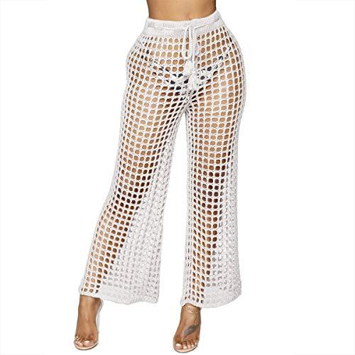 Pantalone a vita alta con risvolto e gamba larga Pantalone a vita alta con risvolto a forma di cavallo White