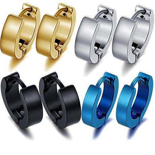 [M-Tree Stainless Steel Huggie Earrings - Unisex Cool Small Hypoallergenic Hoop Stud Earring Piercings 4 Pairs Color] (Funky Punk Bones Adult Costumes)
