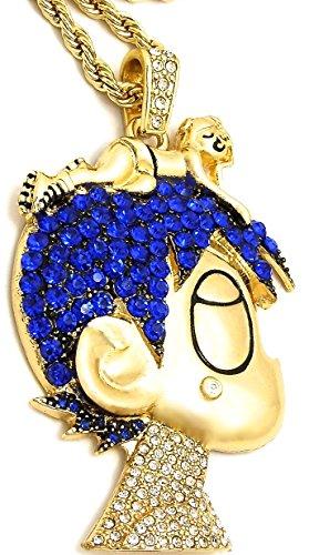 GWOOD L Uzi Cartoon Iced Out Pendant Necklace Gold Color ...