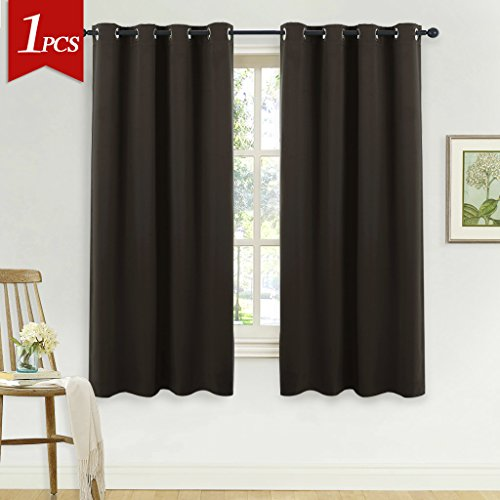 NICETOWN Blackout Window Drape and Curtain - (Toffee Brown Color) Window Treatment Panel for Home Theater, Noise Rducing Drape/Drapery by, 52 Inch Wide by 63 Inch Long, One Piece (Curtains Window Drapes)