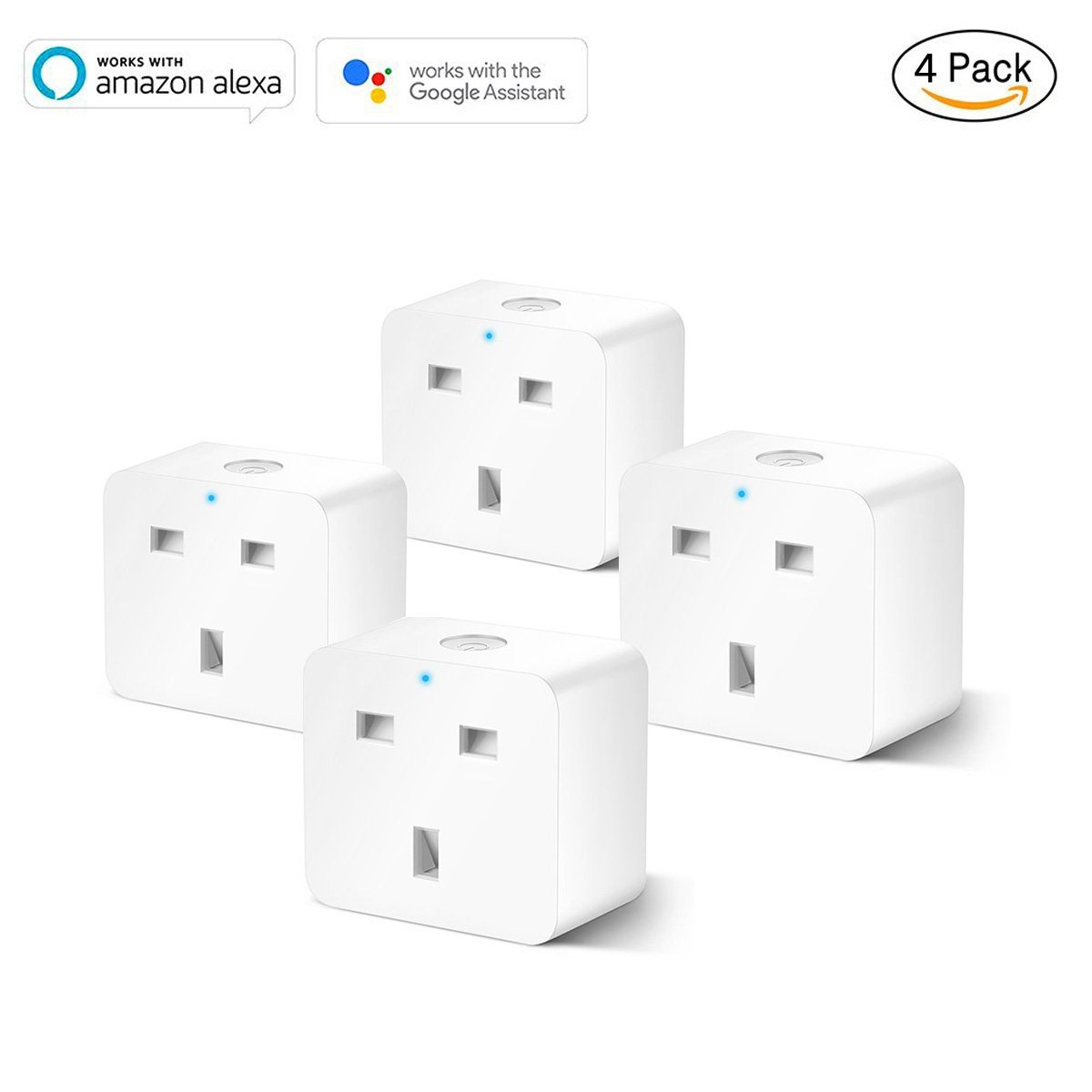 Smart Plug Socket Wifi, Switch Power Outlet with Timing Function, Compatible with  Echo Google Assistant by Voice Control, No Hub Required, Control Your Devices from Anywhere (1 Pack) MOKE