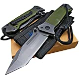 Tactical Spring Assisted Opening Knife: OD Green G-10 Handles - Razor Sharp Tanto Blade - Every Day Carry - Includes Landyard and Heavy Duty Cordura Sheath.  Bundle – 2 items: 1 knife and 1 sheath