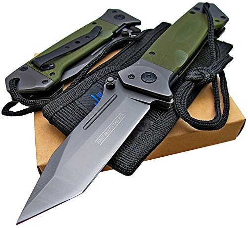 Tactical Spring Assisted Opening Knife: OD Green G-10 Handles - Razor Sharp Tanto Blade - Every Day Carry - Includes Landyard and Heavy Duty Cordura Sheath.  Bundle - 2 items: 1 knife and 1 sheath