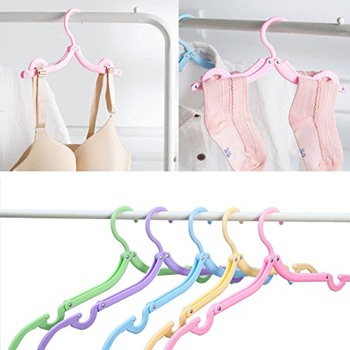 10pcs portable folding clothes hangers foldable clothes drying rack for travel 699971041589