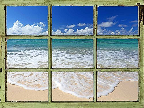 Window View Wall Mural Tropical Beach and Clear Waves Vintage Style Wall Decor Peel and Stick Adhesive Vinyl Material