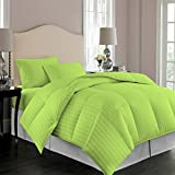 Comforter Striped 100% Egyptian Cotton Hypoallergenic 1000 Thread Count 1 Piece Down Alternative Comforter 600 GSM Microfiber Fill Heavy Weight By Kotton Culture (Queen / Full, Sage)