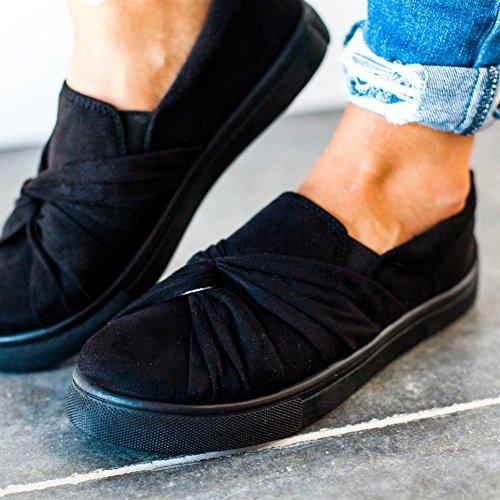 Huiyuzhi Kvinna Glida Ovanpå Rynkad Knut Flatform Mode Sneakers Svart