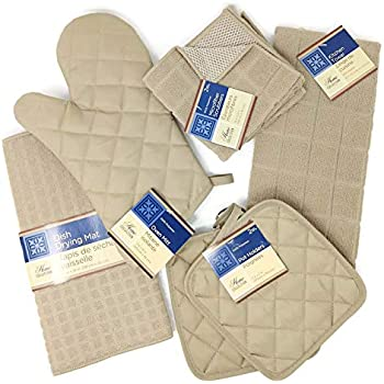 Kitchen Towel Set with 2 Quilted Pot Holders, Oven Mitt, Dish Towel, Dish Drying Mat, 2 Microfiber Scrubbing Dishcloths (Tan)