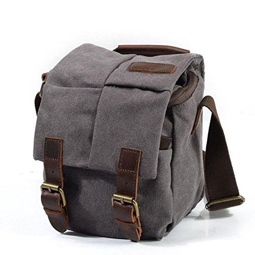 3a71367dd585 DCRYWRX Leather Canvas Camera Bag Retro Waterproof SLR Shoulder Messenger  Pack Shoulder Bag Removable Insert Messenger Bag,Lightgrey