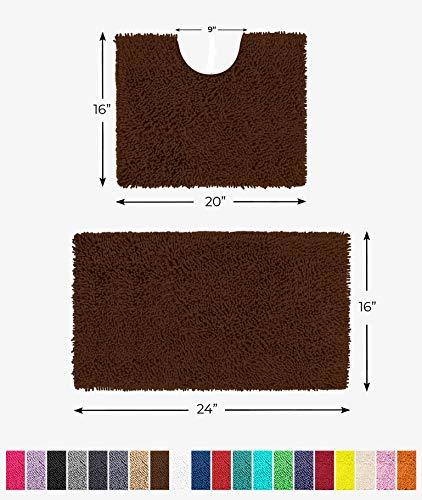 "LuxUrux Bathroom Rugs Luxury Chenille 2-Piece Bath Mat Set, Soft Plush Anti-Slip Shower Rug +Toilet Mat.1"" Microfiber Shaggy Carpet, Super Absorbent Machine Washable Bath Mats(Curved Set Mini, Brown)"