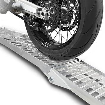 1x ConStands Alu III Auffahrrampe Vespa GTS 300 Motorrad Alu Dreifach-Klappbar Auffahrschiene bis 270 kg