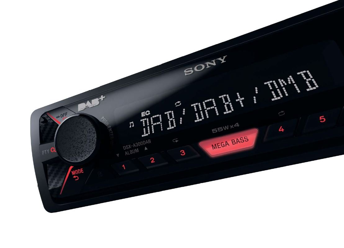 R/écepteurs multim/édias de Voiture Noir, 220 W, 178 x 120 x 50 mm, 700 g, FLAC,MP3,WMA, Dab,Dab+,DMB Sony DSX-A300DAB 220W Noir r/écepteur multim/édia de Voiture